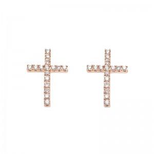 Earrings Cross, Rose gold,...