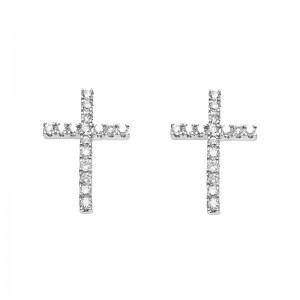 Earrings Cross, White gold,...