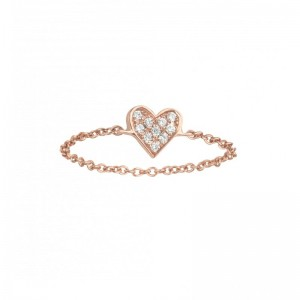 Chain Ring Heart Rose gold...