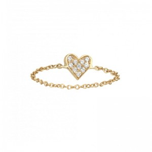 Chain Heart Ring, Yellow...