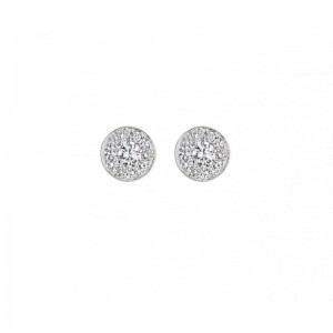 Earrings Round Charm, White...