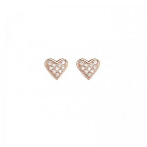 Heart Earrings, Rose gold,...