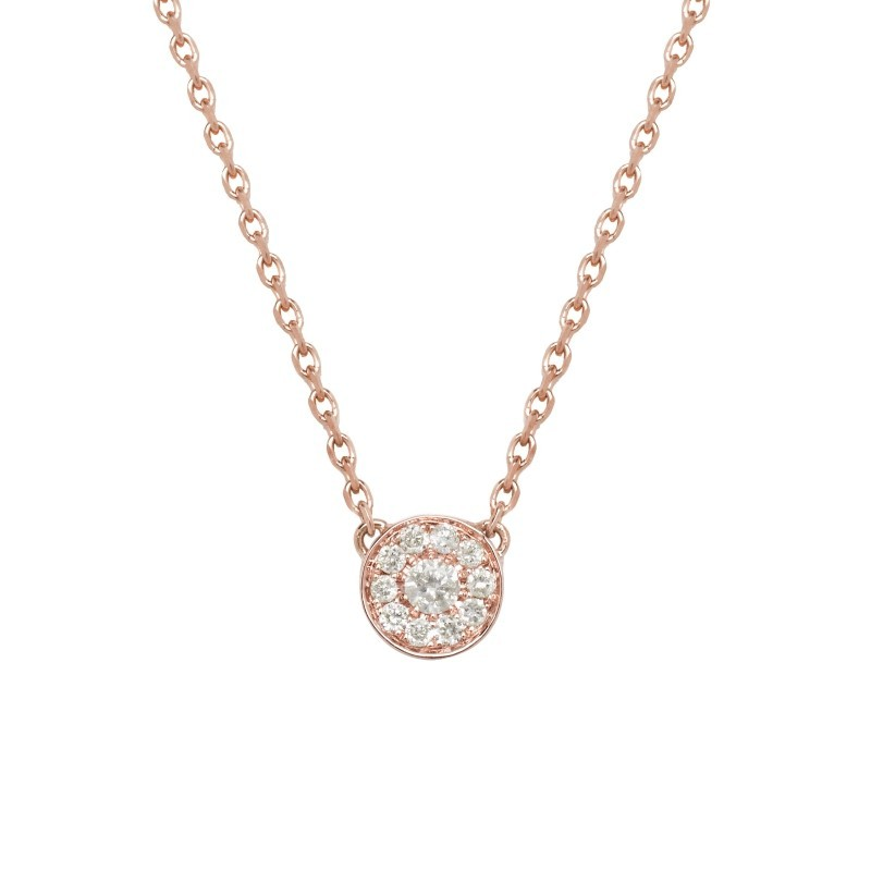 388647ddc29 Charms necklace (Precious Collection) in 750/1000e rose Gold fully paved  with diamonds and with two solitaire diamonds.