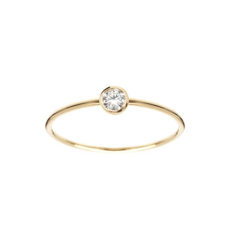 337993c4b28 Bague Identity en Or Jaune 750 1000e et diamant solitaire en serti clos.