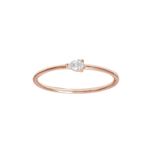 Bague, Or rose, Diamant Poire