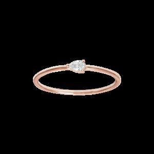 Bague, Or rose, Diamant Poire
