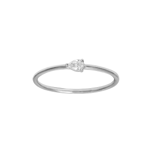 Bague, Or blanc, Diamant Poire