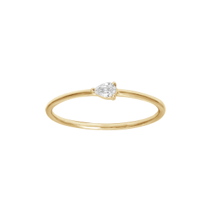 Bague, Or jaune, Diamant poire