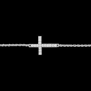 Bracelet Cross, Or blanc,...