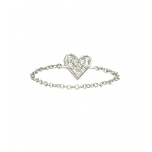 Chain Ring Heart White gold...