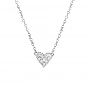 Necklace Heart, White gold,...