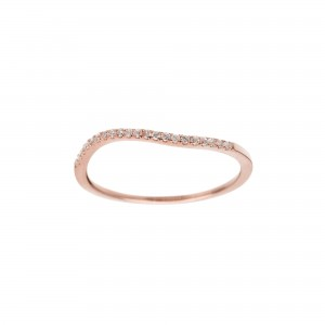 Wave Ring, Rose gold, Diamonds