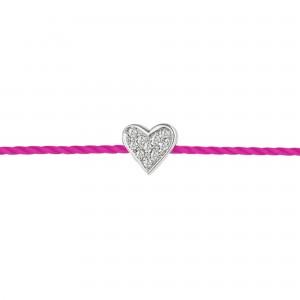 Bracelet fil Coeur, Argent,...