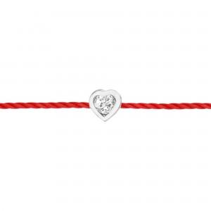Identity 18K金心形钻石红绳手链