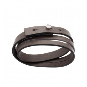 Leather Bracelet Silver and...