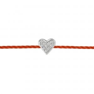 Identity 925银心形钻石红绳手链