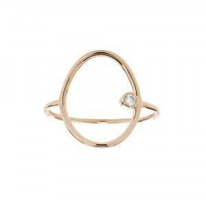 Oval Ring, Rose gold, Diamond
