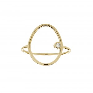 Bague Ovale, Or jaune, Diamant