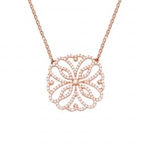 Hibiscus 项链:玫瑰金、钻石