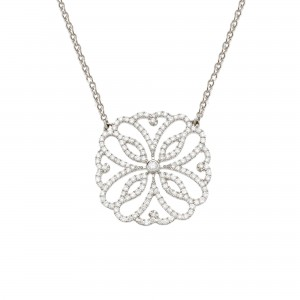 Hibiscus 项链: 白金、钻石