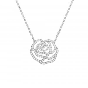 Collier La Rose, Or blanc,...