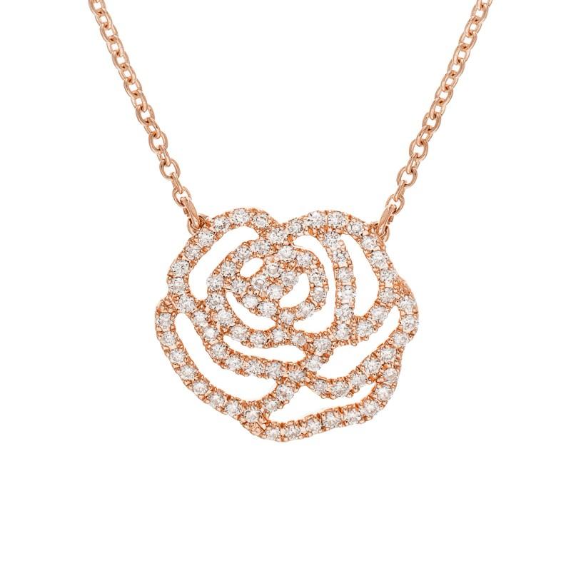 Collier La Rose Prestige Or Rose Diamants Vanessa Tugendhaft