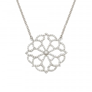 Collier Broderie, Or blanc,...