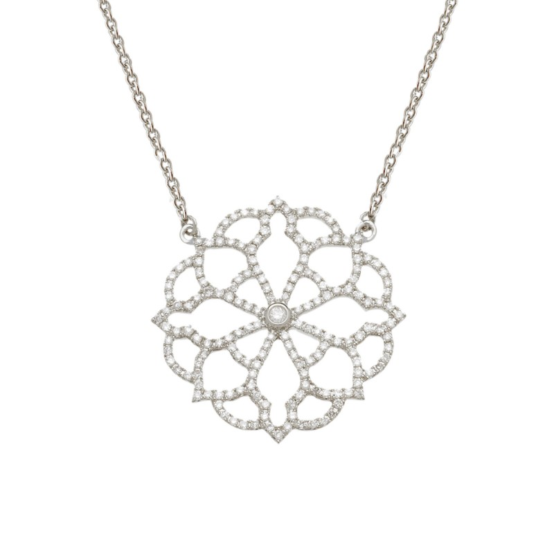 grande vente d5954 f996b Collier Broderie or blanc et diamants  Vanessa Tugendhaft Joaillerie