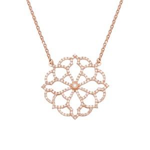 Broderie 项链:玫瑰金、钻石