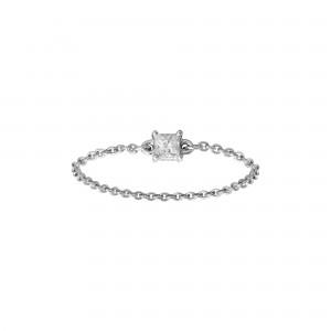 Identity18K金公主形钻石链条戒