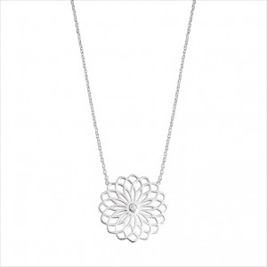 Collier Lotus en or blanc