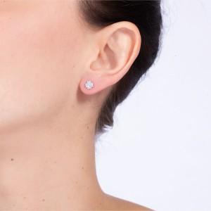 PRINCESSE - Boucles d'oreilles, Diamants & plaqué Or Jaune