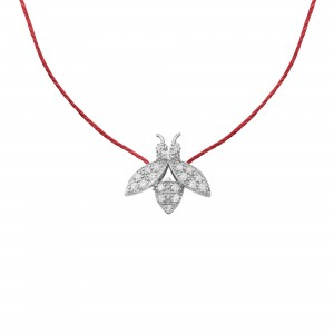 BEE Necklace, Silver, Diamonds